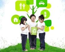 绿色环保回收小朋友PSD素材