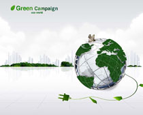 环保地球城市PSD素材
