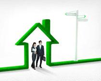绿色线条房子与商务人物PSD素材