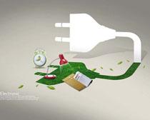 科技插头环保广告PSD素材