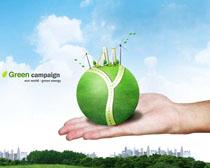 手托创意环保地球PSD素材