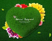 绿色草创意爱心PSD素材