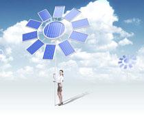 太阳能科技与职业女性PSD素材
