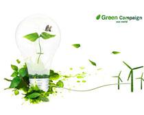 创意环保风车与灯泡PSD素材