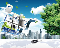 城市绿色科技展板PSD素材