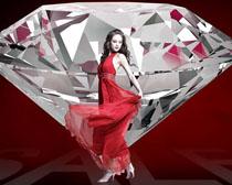 钻石与红裙美女PSD素材