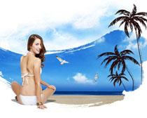 坐沙滩上的美女海报模板PSD素材