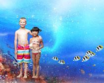 海底世界与小朋友PSD素材