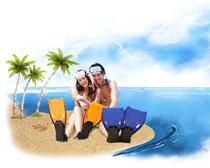 坐在沙滩的恋爱情侣PSD素材