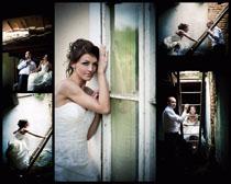 屋檐下的婚纱男女摄影高清图片