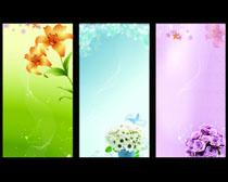 清爽花卉背景设计PSD素材