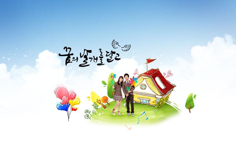 韩国人物与卡通背景psd素材