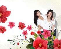 手绘花朵与美女PSD素材