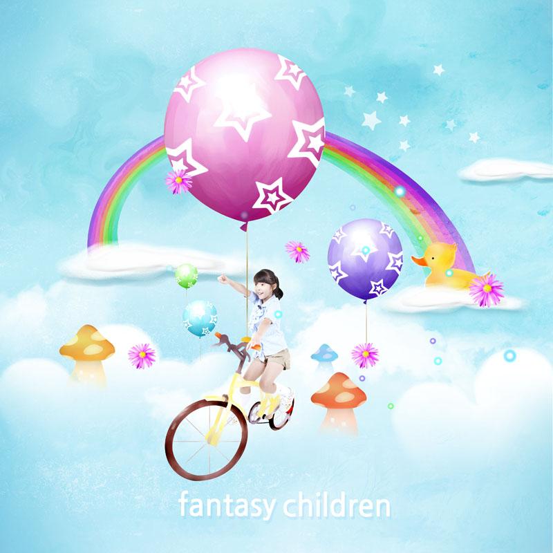 爱图首页 psd素材 人物图片 梦幻背景 彩虹 气球 星星 云朵 小女孩 小