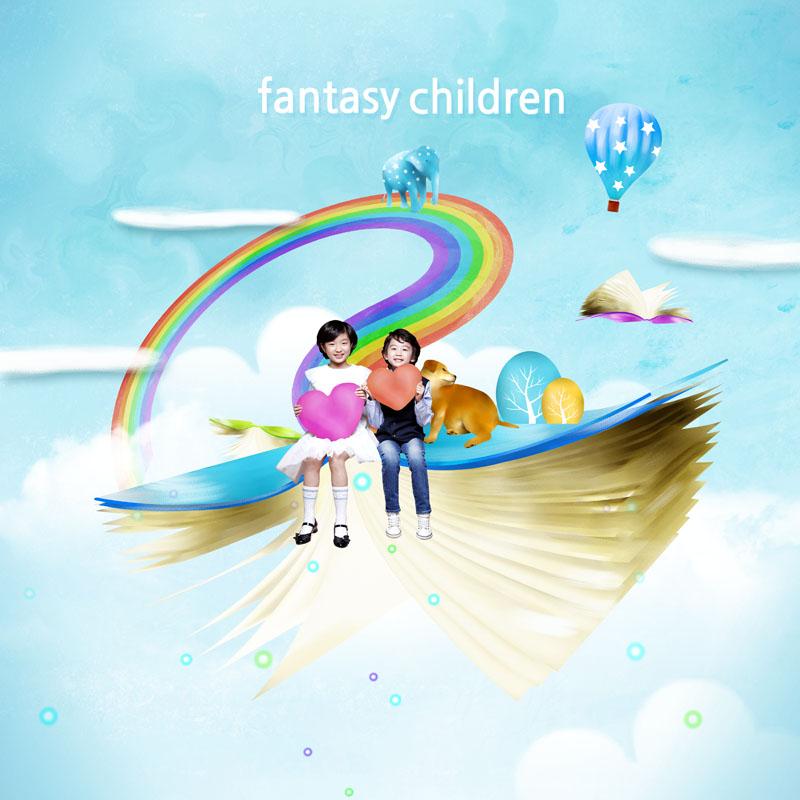 彩虹气球云朵天空梦幻背景书本卡通动物爱心小男孩