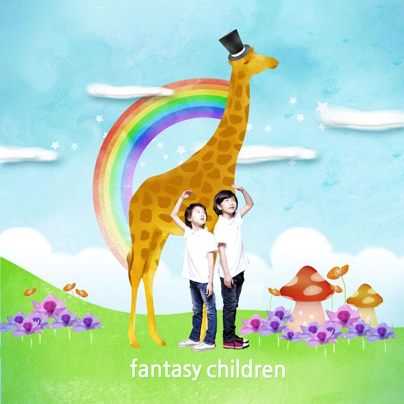 关键字: 卡通背景花朵小草蓝天白云草地彩虹长颈鹿儿童小朋友psd