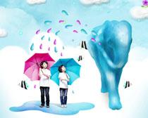 拿雨伞的小孩PSD素材