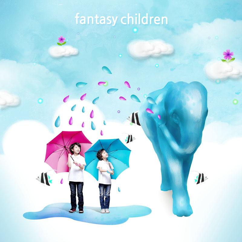 人物图片 雨伞 卡通云朵 雨水 小女孩 小女生 小男孩 小男生 花朵