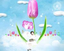 花朵下的小女孩PSD素材