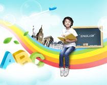 彩虹上学习的小男孩PSD素材