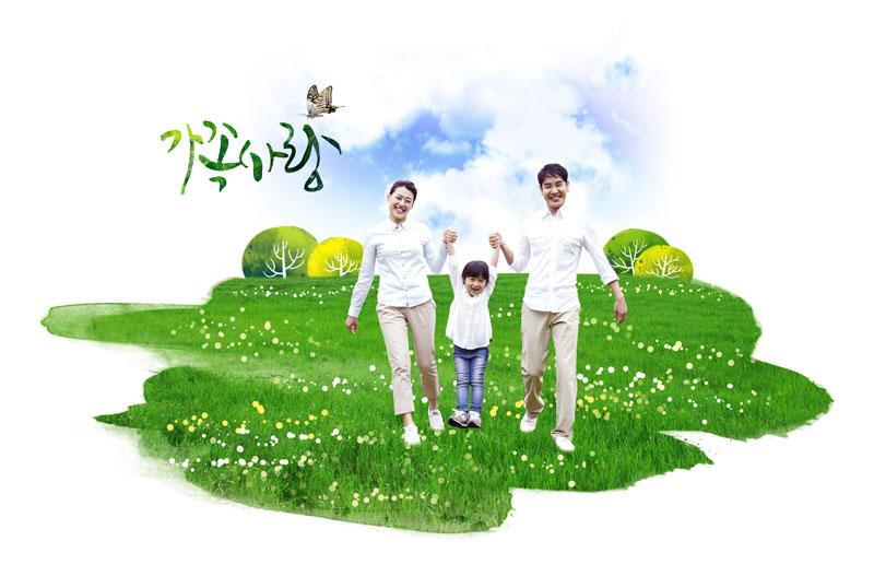 爱图首页 psd素材 人物图片 快乐家庭 一家人 一家三口 草原 手拉手