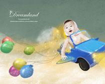 玩具车与宝宝PSD素材