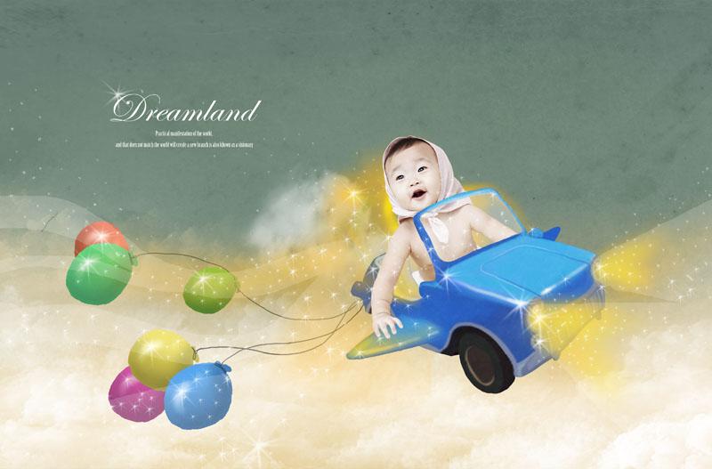 爱图首页 psd素材 人物图片 玩具汽车 可爱宝宝 婴幼儿 气球 梦幻背景