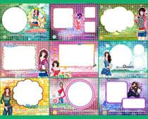 2014卡通时尚女孩台历日历设计PSD素材