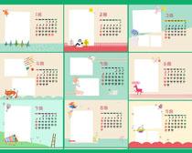 2014卡通动物台历日历设计PSD素材