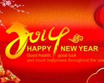 2014新年快乐贺卡卡片设计PSD素材
