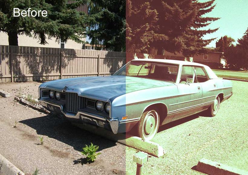 汽车照片怀旧老化效果ps调色动作 高清图片
