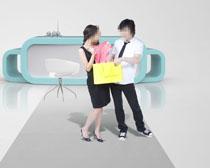 购物女人与展台PSD素材