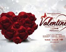 心形玫瑰花束海报设计PSD素材