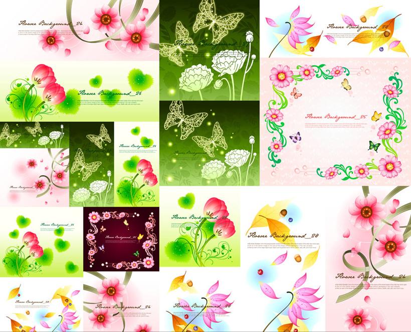 梦幻花卉背景设计矢量素材 淡彩花朵背景设计矢量素材 时尚花卉花边