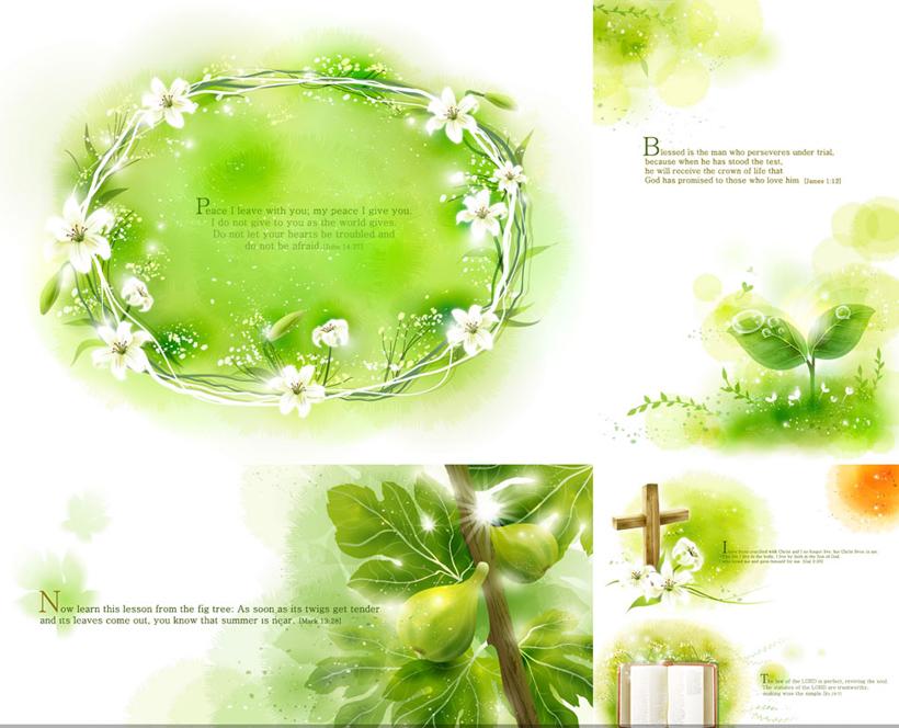 清爽绿色背景设计矢量素材