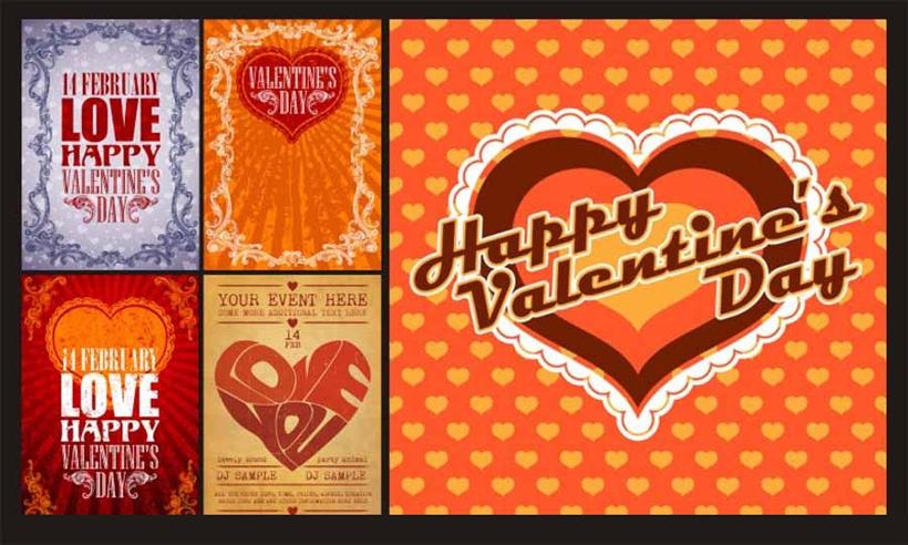 贺卡卡片背景矢量素材 心形情人节卡片背景矢量素材 情人节手绘图案