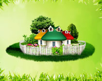 草地景色小房子PSD素材