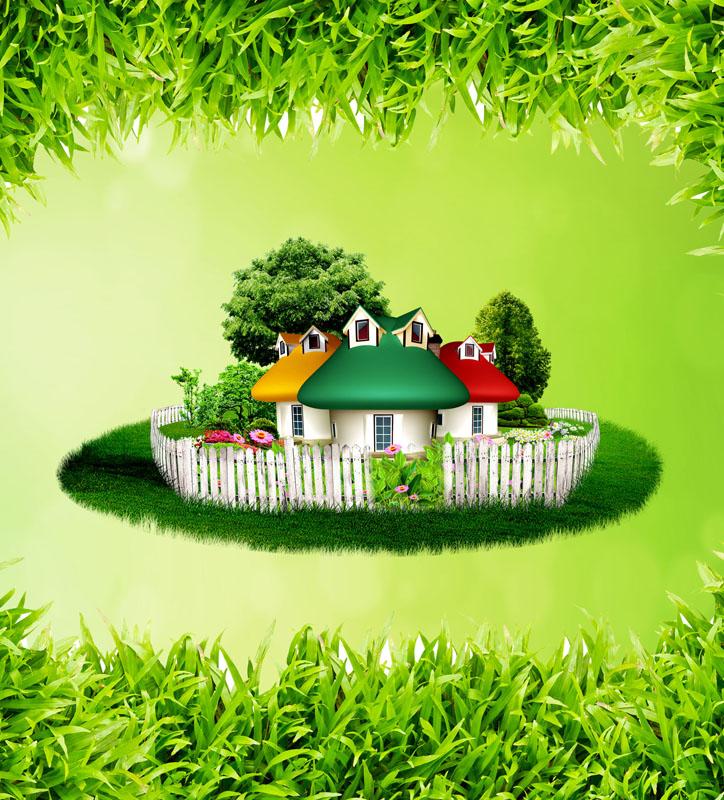 樹葉背景卡通房子