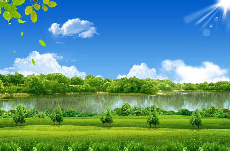 > 素材信息   关键字: 春天景色绿色草地环境绿化自然风景蓝天白云