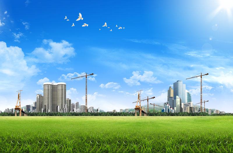 草地风景绿色草地蓝色天空城市建筑和平鸽阳光春天背景自然风景广告