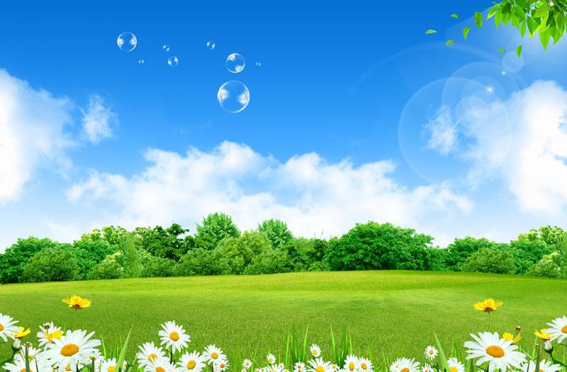 草原蓝天白云风景psd素材 春天绿色草地风景psd素材 别墅自然景观psd