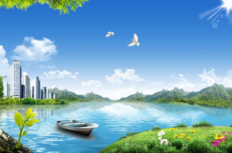 关键字: 河流小溪城市建筑自然风景蓝天白云春天景色花草树木踏青