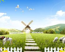 草原畜牧业风车PSD素材