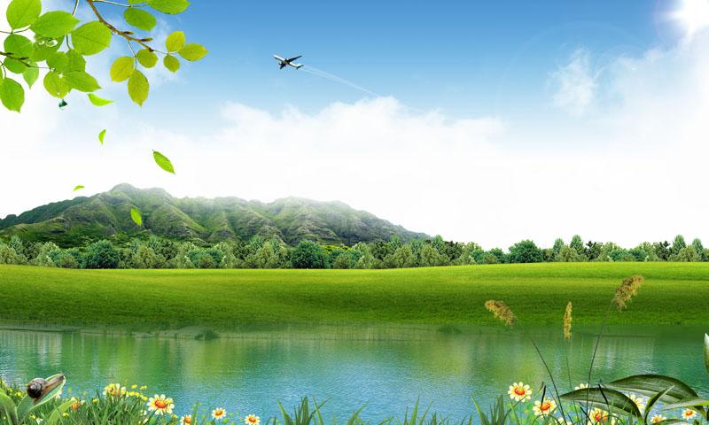 关键字: 蓝天白云小溪河流自然风景花草树木绿色草地叶子春天景色