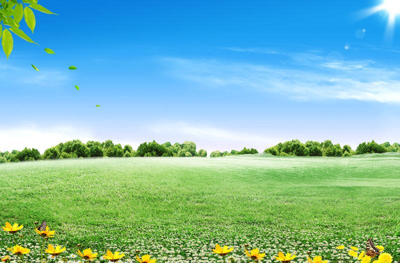 草原蓝天白云风景psd素材 小房子卡通春天背景psd素材 春天风景绿叶大