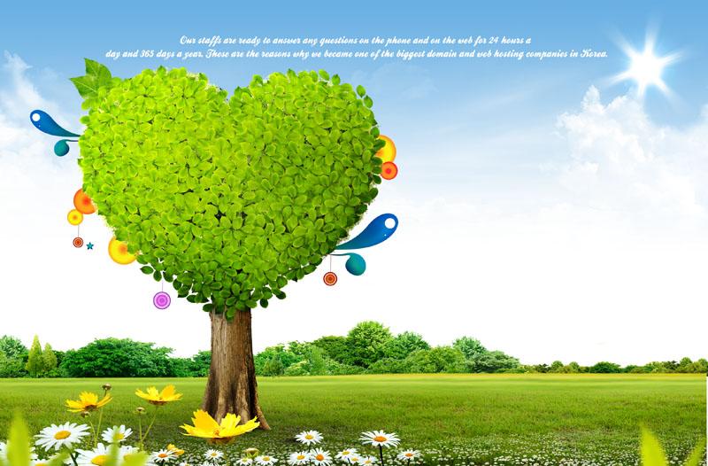 景色蓝天白云绿色草地卡通大树春季素材psd分层素材