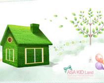 环保小房子摄影高清图片 绿色草地房子风景高清图片 卡通饼干蛋糕摄影图片
