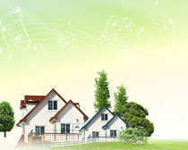 别墅自然景观PSD素材