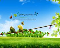 春天绿色草地风景PSD素材
