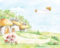 卡通漫画房子草地风景PSD素材
